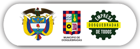 """Escudos de Colombia, la Alcaldía Municipal de Dosquebradas y el logo de """"Empresa de Todos""""."""